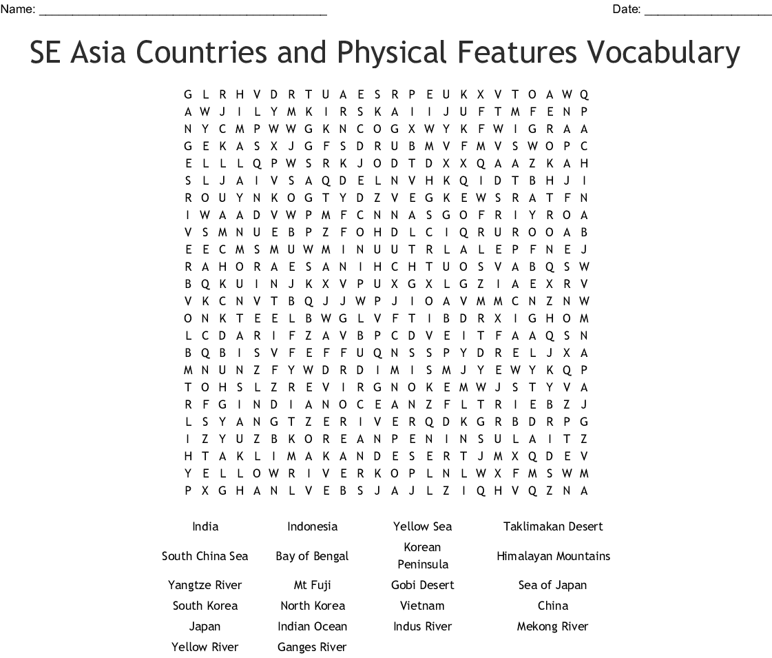 Se Asia Countries And Physical Features Vocabulary Word
