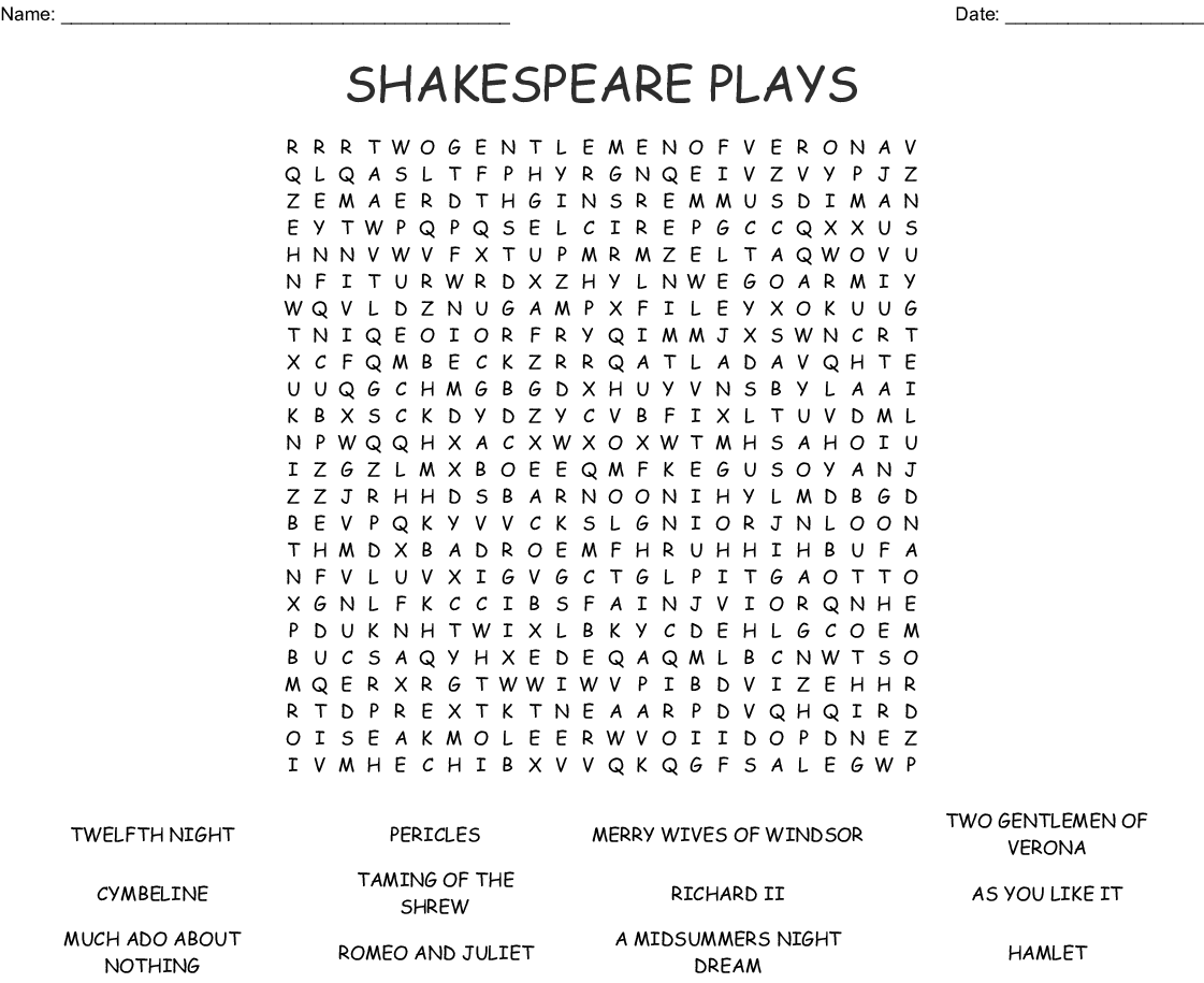 The Complete Works Of Shakespeare Word Search