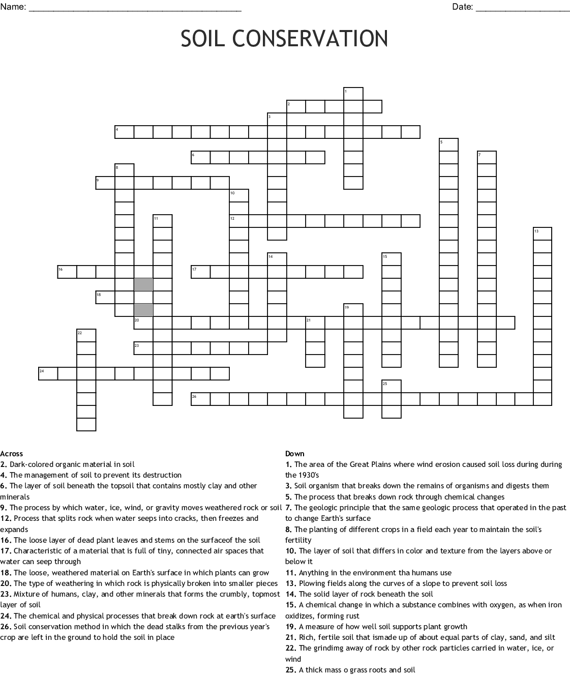 Soil Crossword