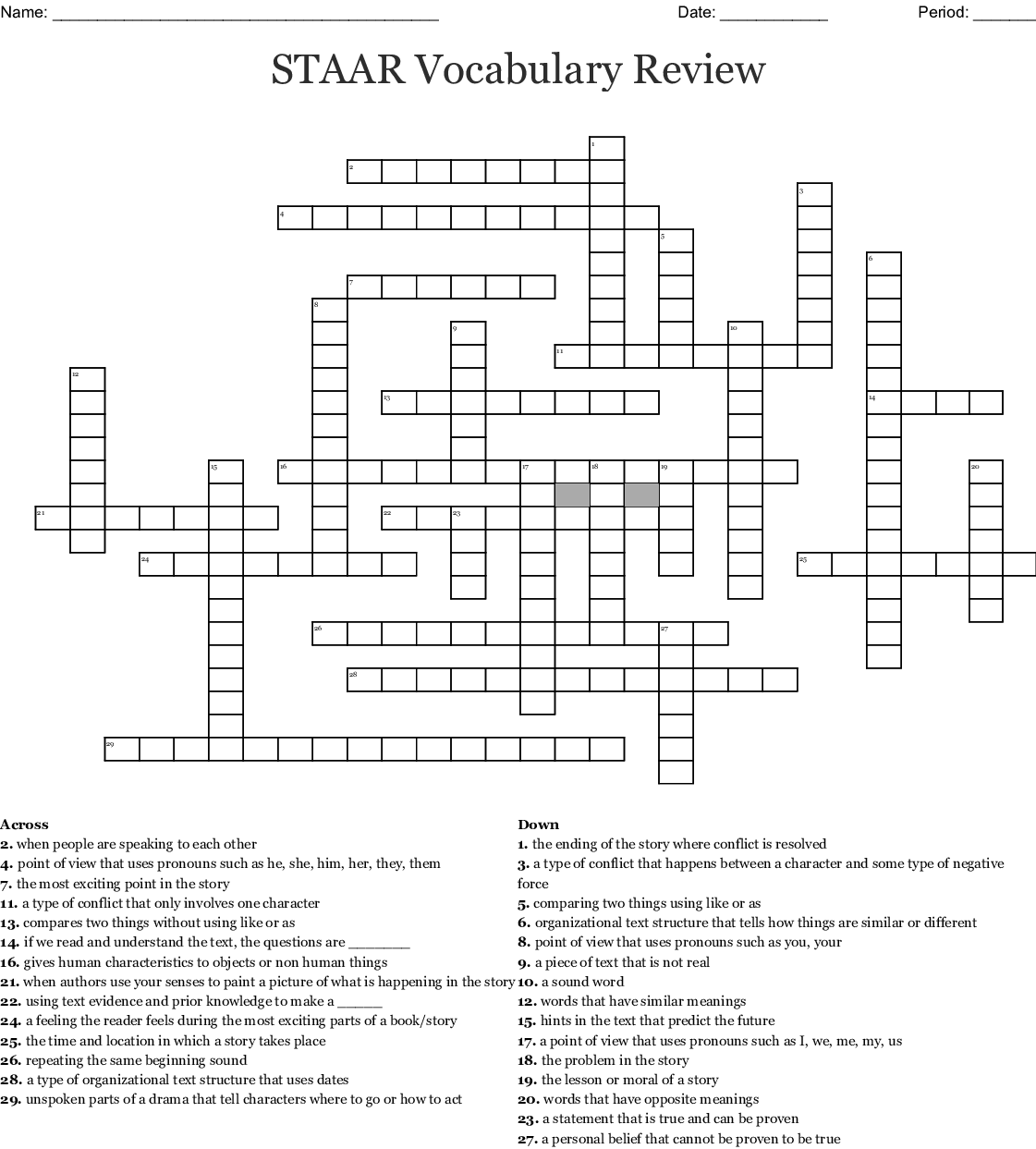 Unit 2 Vocabulary Review Crossword