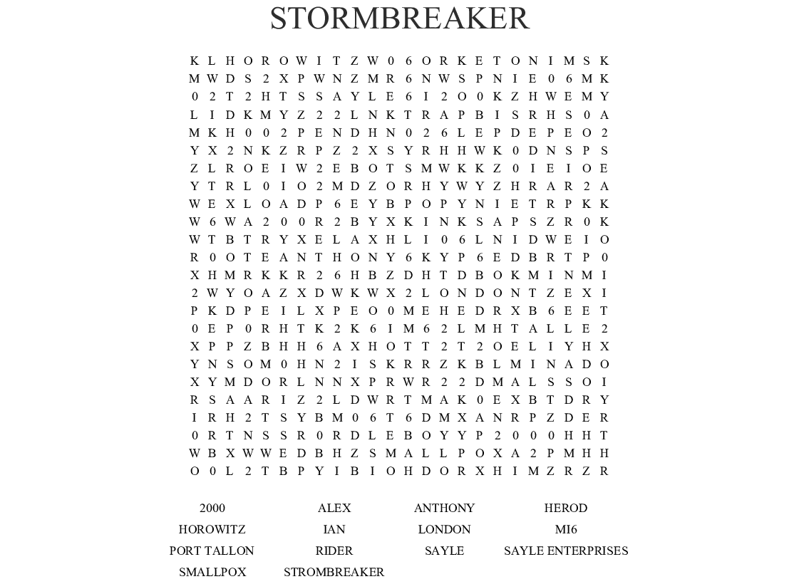 Stormbreaker Word Search
