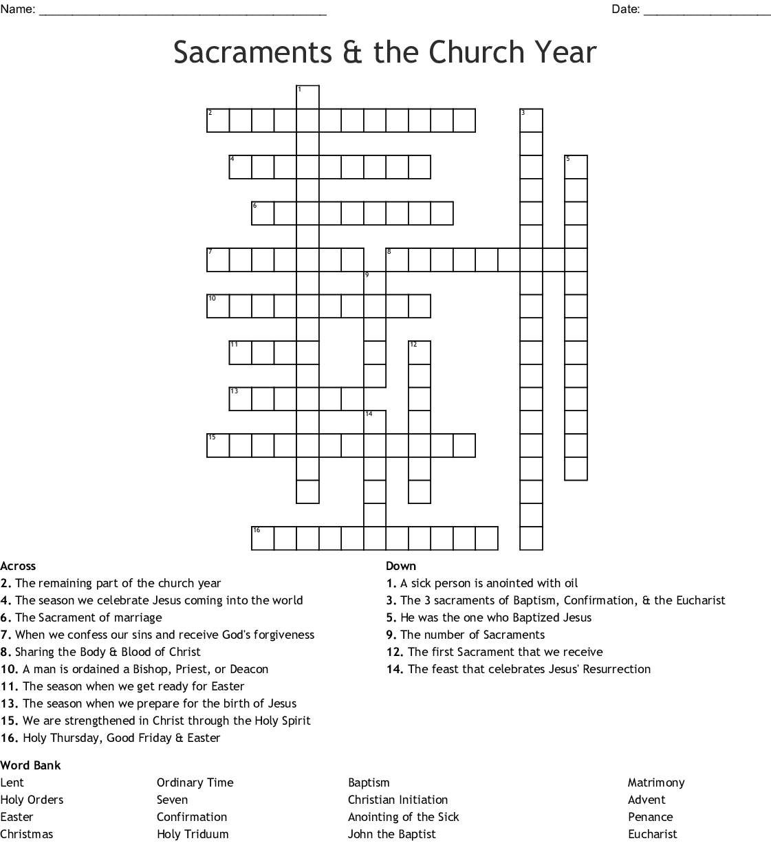 Sacraments Amp The Church Year Crossword