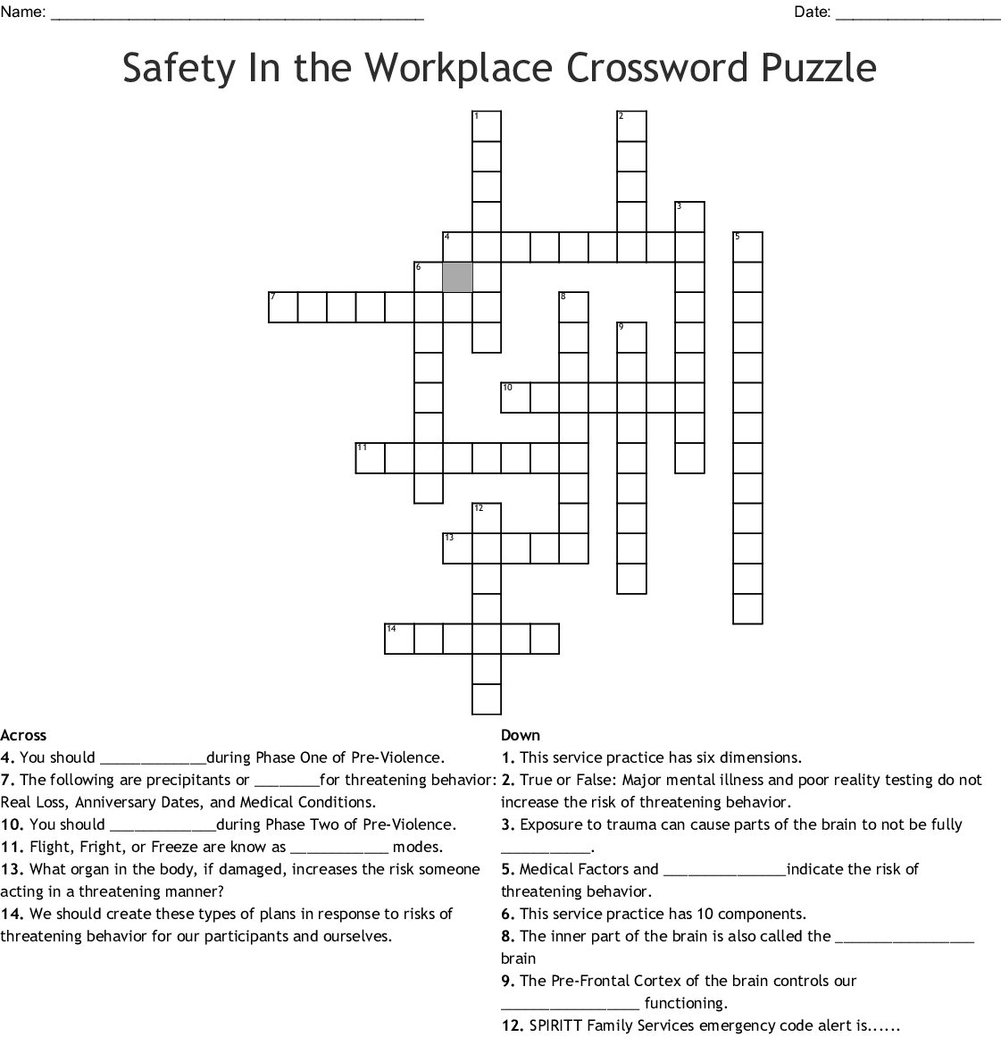 Safety In The Workplace Crossword Puzzle Crossword