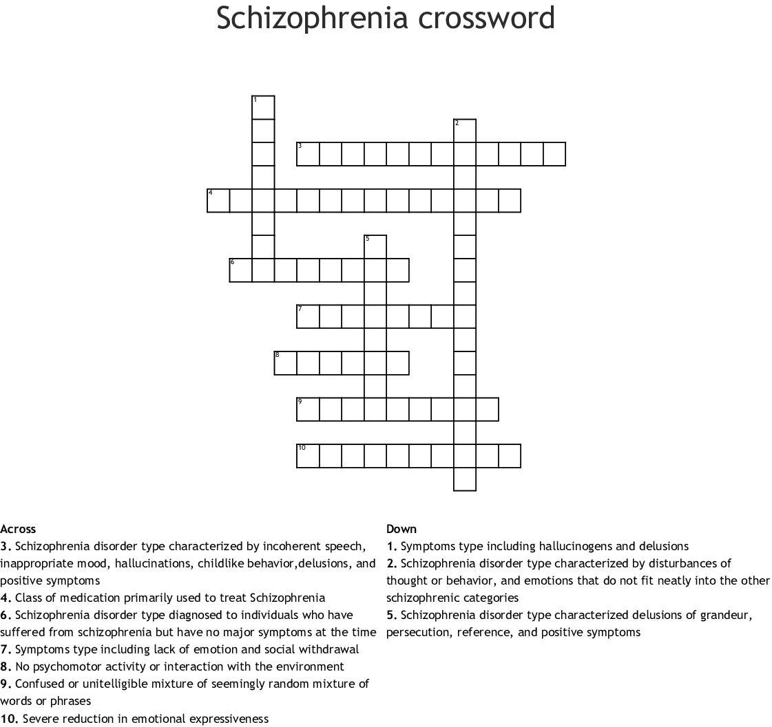 Symptoms Of Schizophrenia Crossword