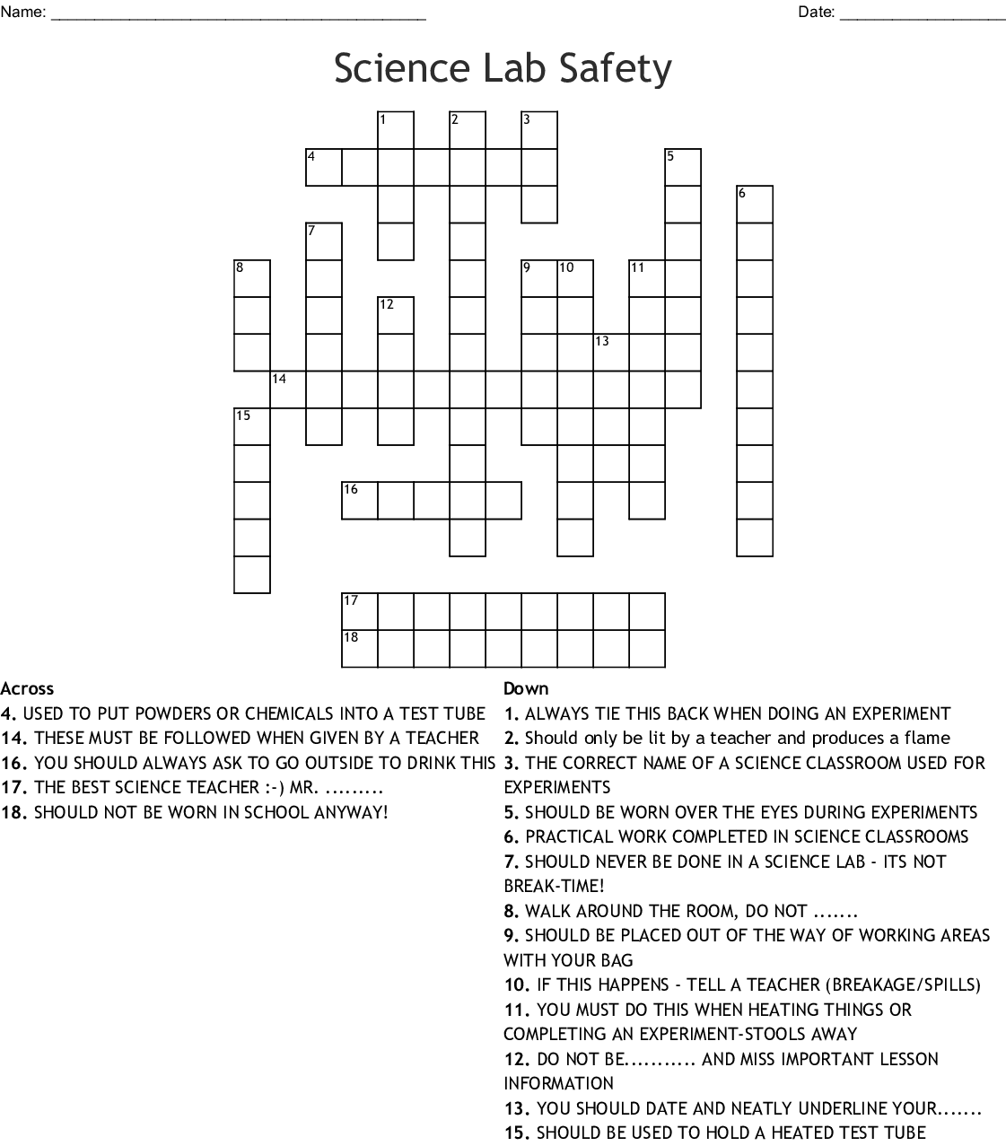 Lab Safety Word Search