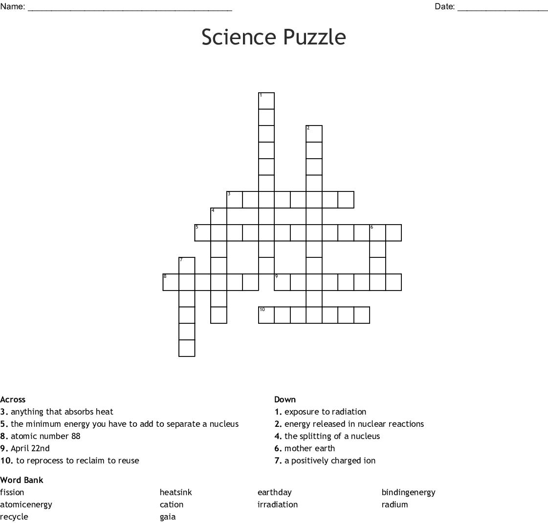 Science Puzzle Crossword