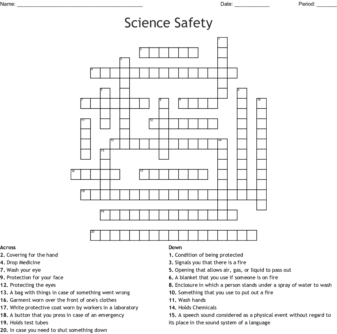 Ppe Safety Crossword Puzzle