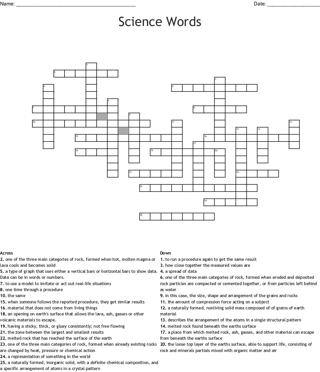 Volcano Vocabulary Crossword - WordMint