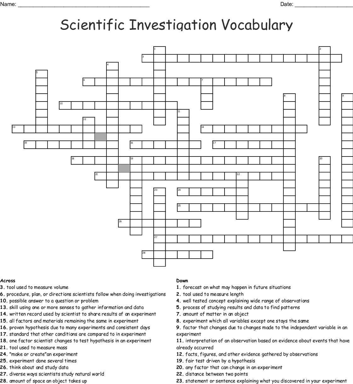 Scientific Investigation Vocabulary Crossword