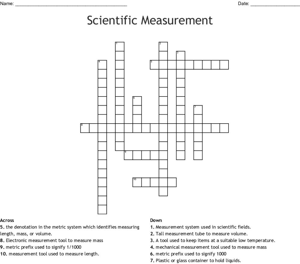 medium resolution of scientific measurement crossword
