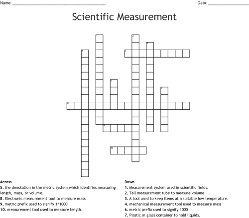 small resolution of scientific measurement crossword