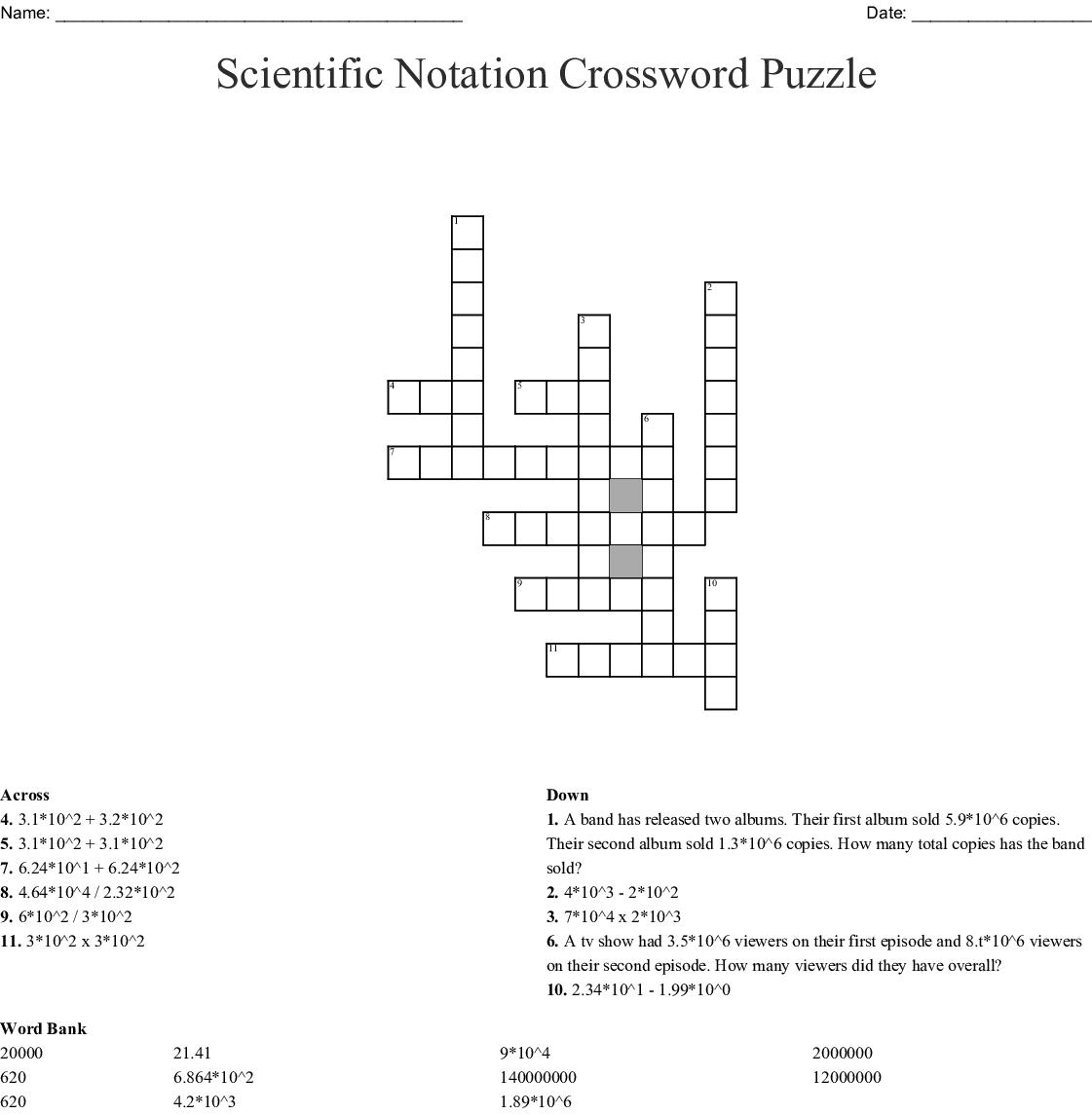 Scientific Notation Crossword Puzzle
