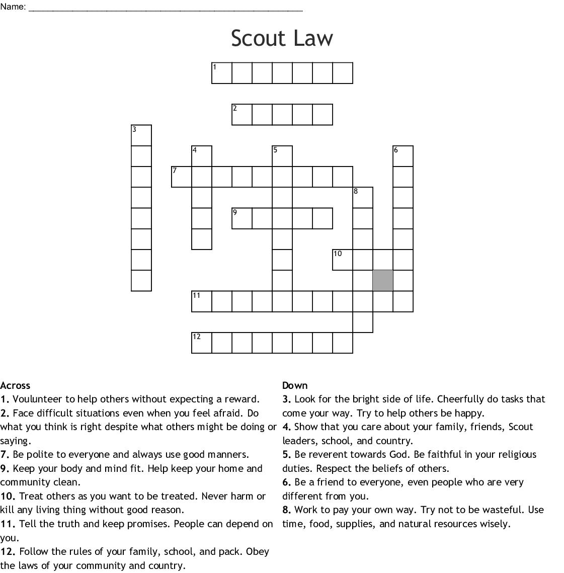 Boy Scout Law Crossword