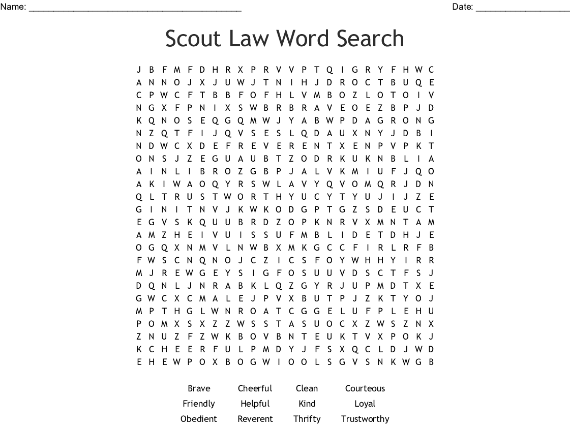 Cub Scout Law Word Search