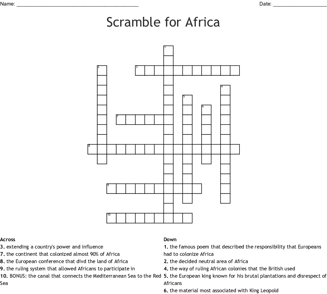 The Scramble For Africa Word Search