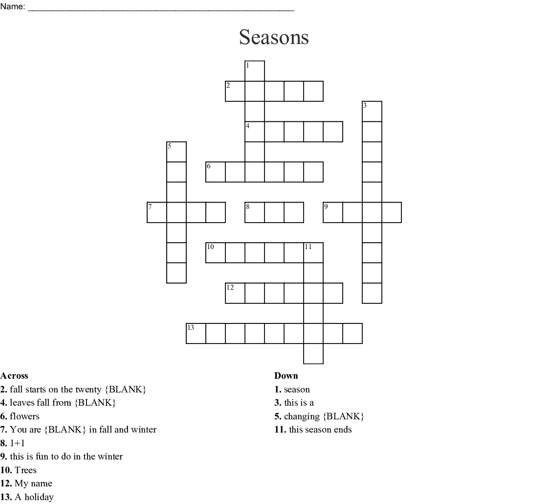 Seasons Crossword