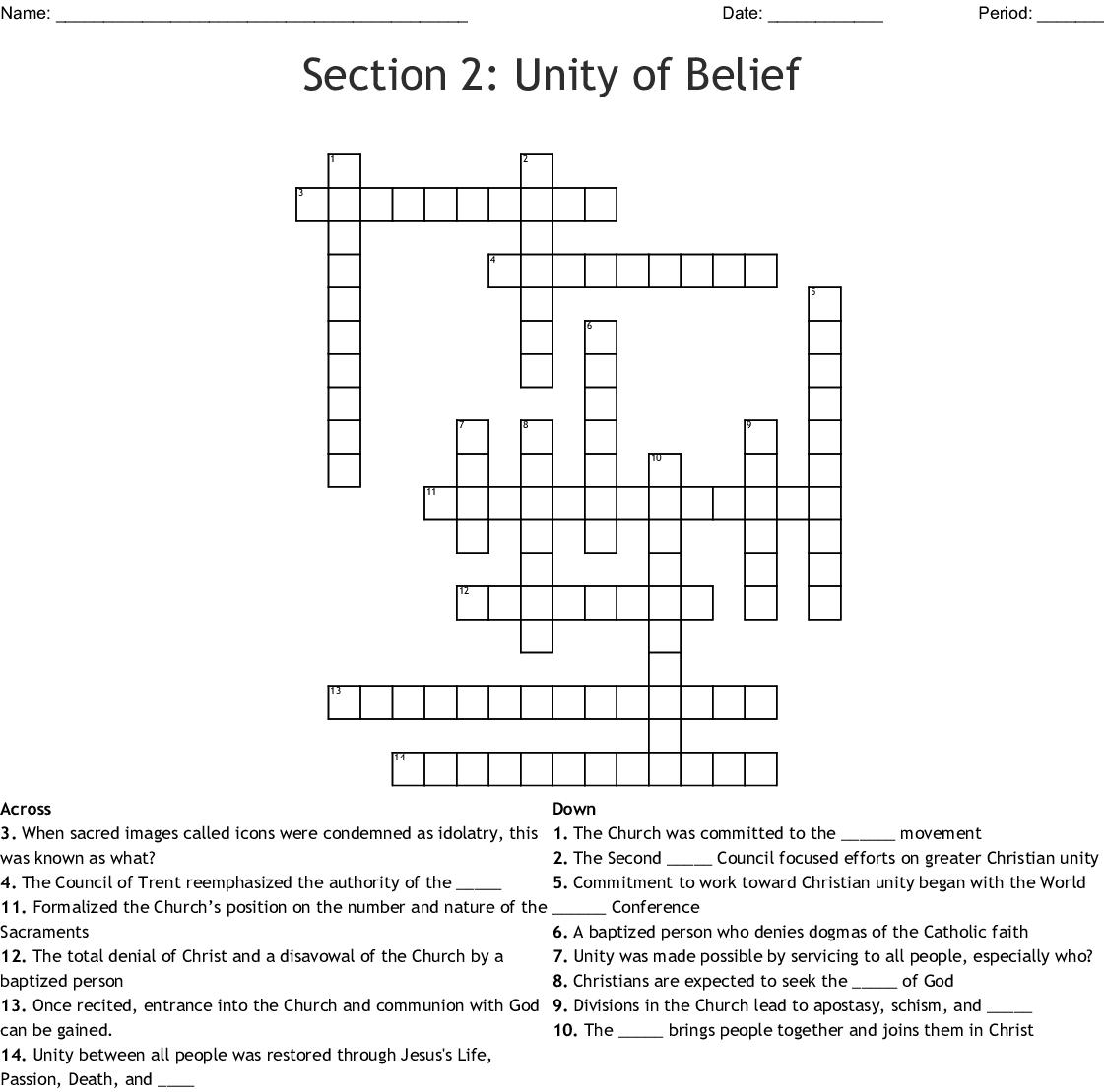 Section 2 Unity Of Belief Crossword