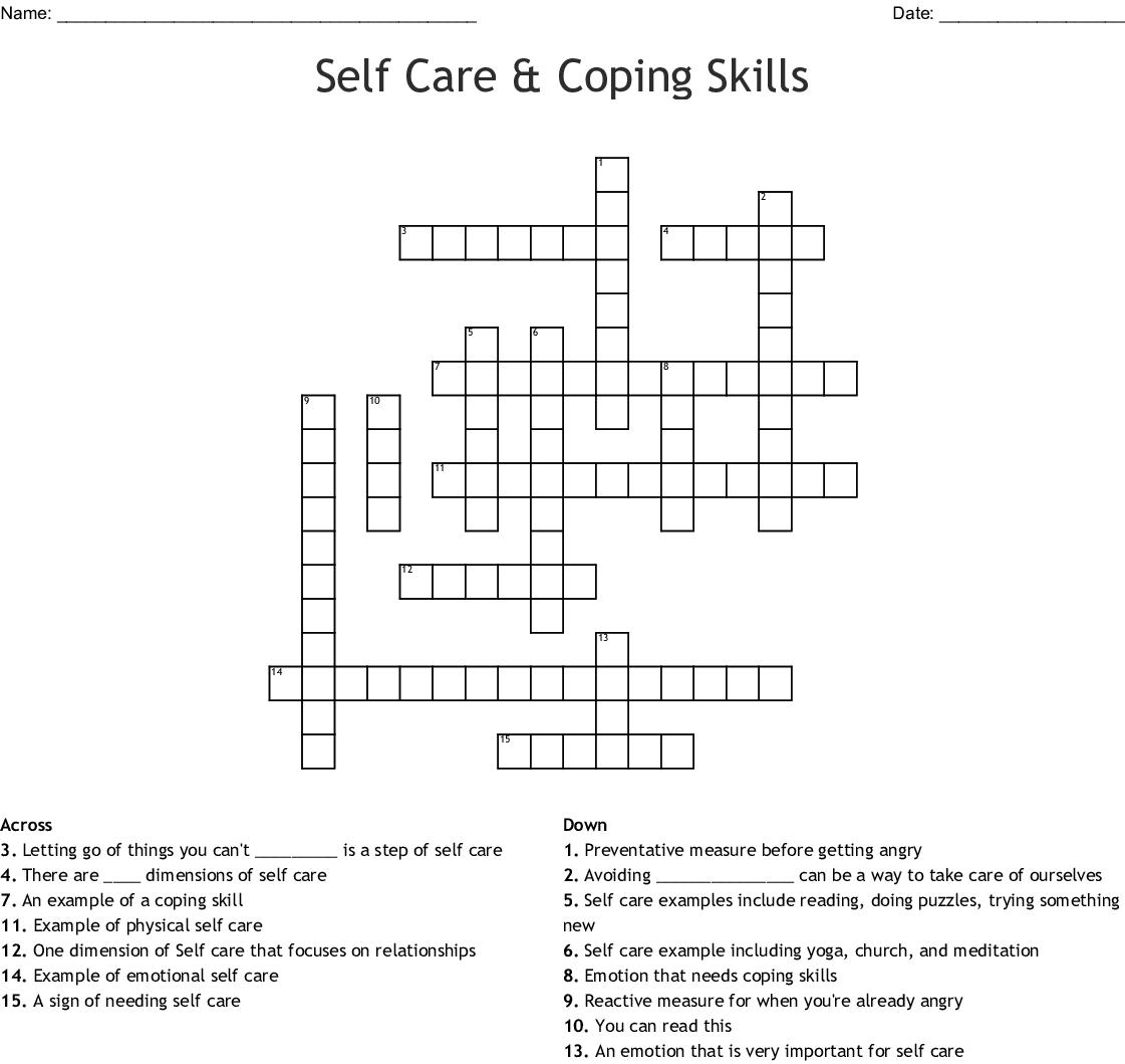 Self Care Amp Coping Skills Crossword
