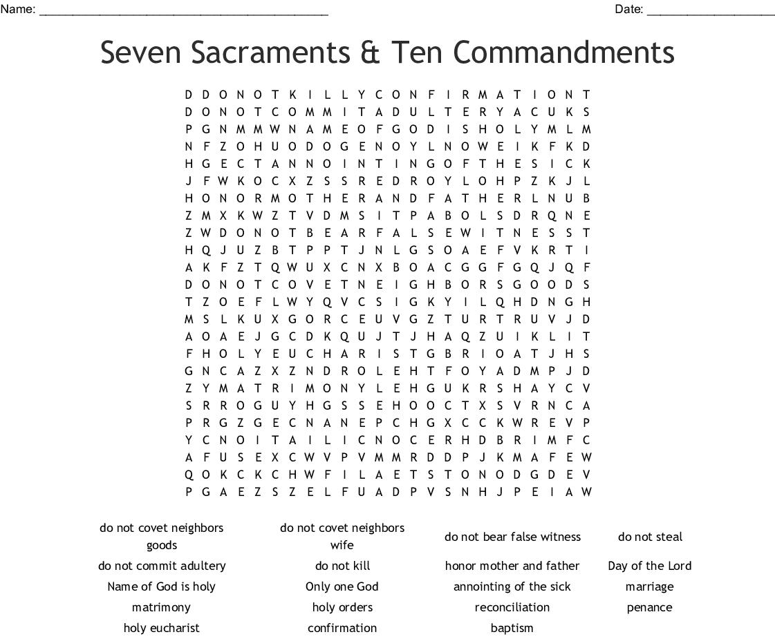 Seven Sacraments Amp Ten Commandments Word Search