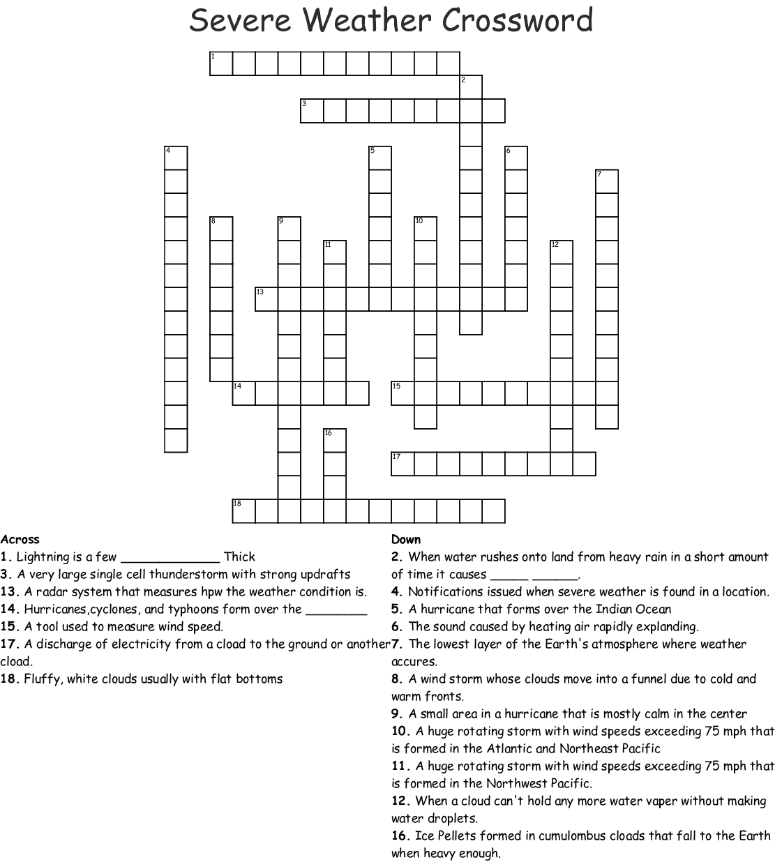 Earth Science Weather Crossword Puzzle Answer Key