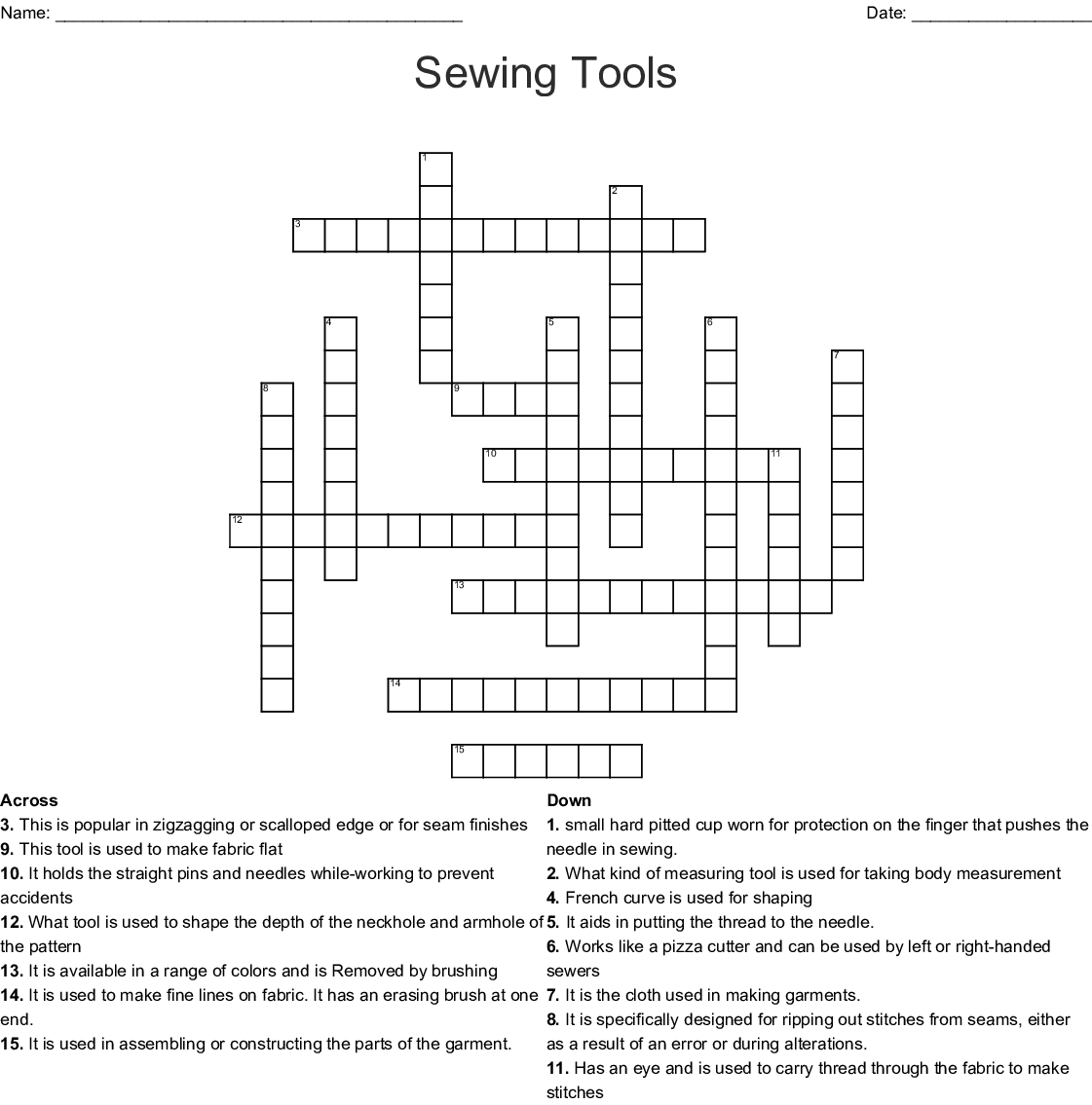 Fiber Amp Textile Arts Crosswords Word Searches Bingo