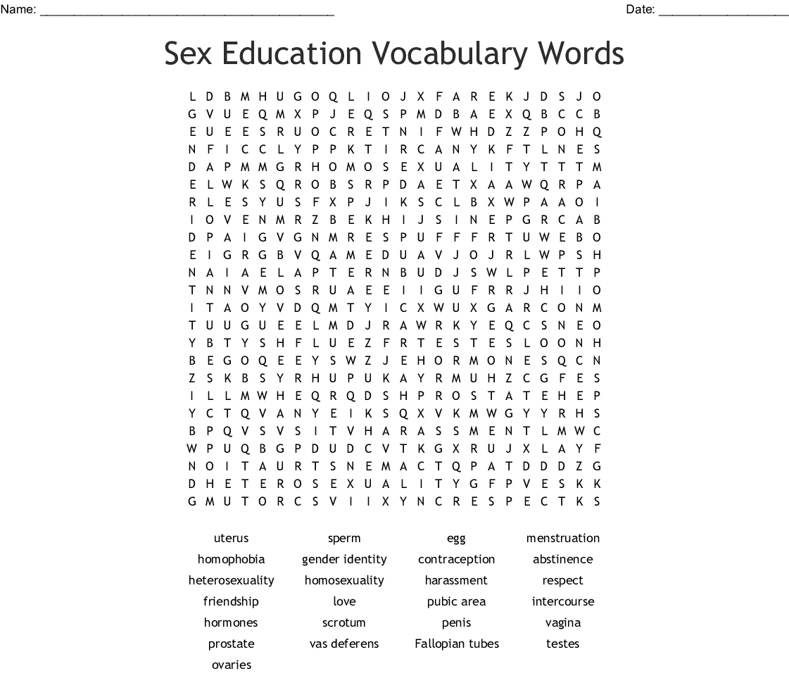 Education Vocabulary Words Word Search