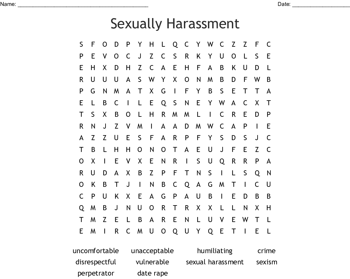 Ually Harassment Word Search