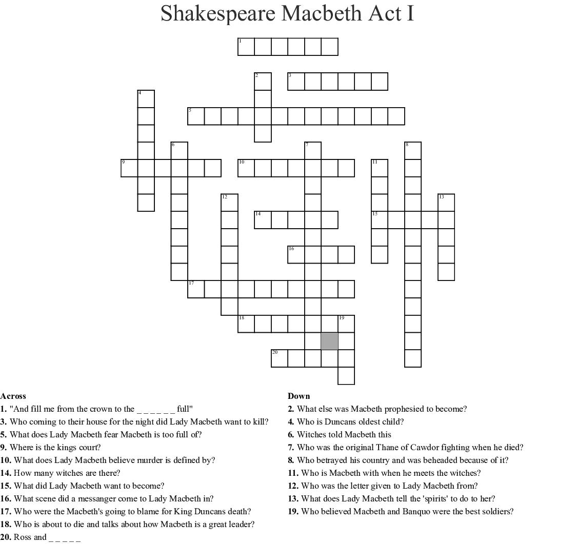 Macbeth Act 1 Crossword