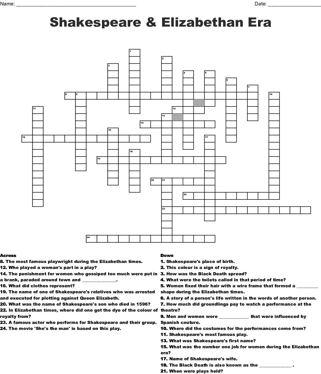 Queen Elizabeth The 1st Crossword