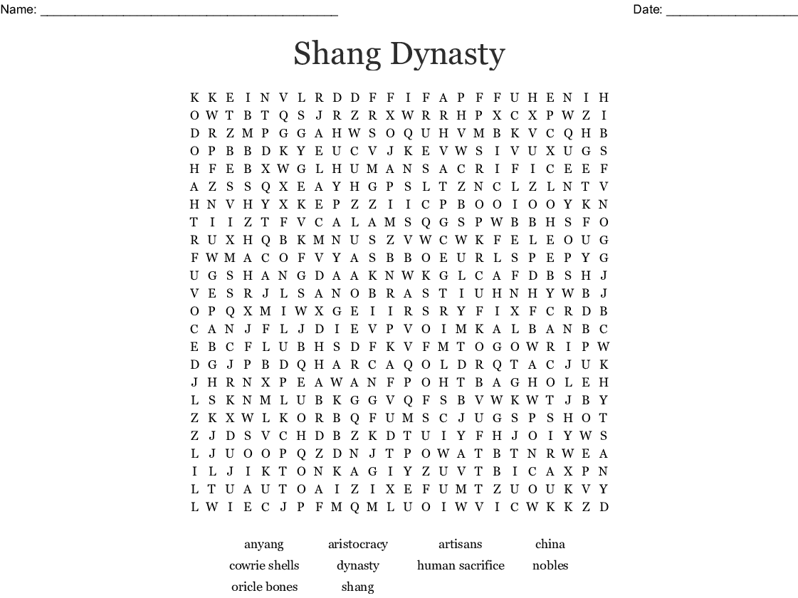 Ancient China The Shang Dynasty Word Search