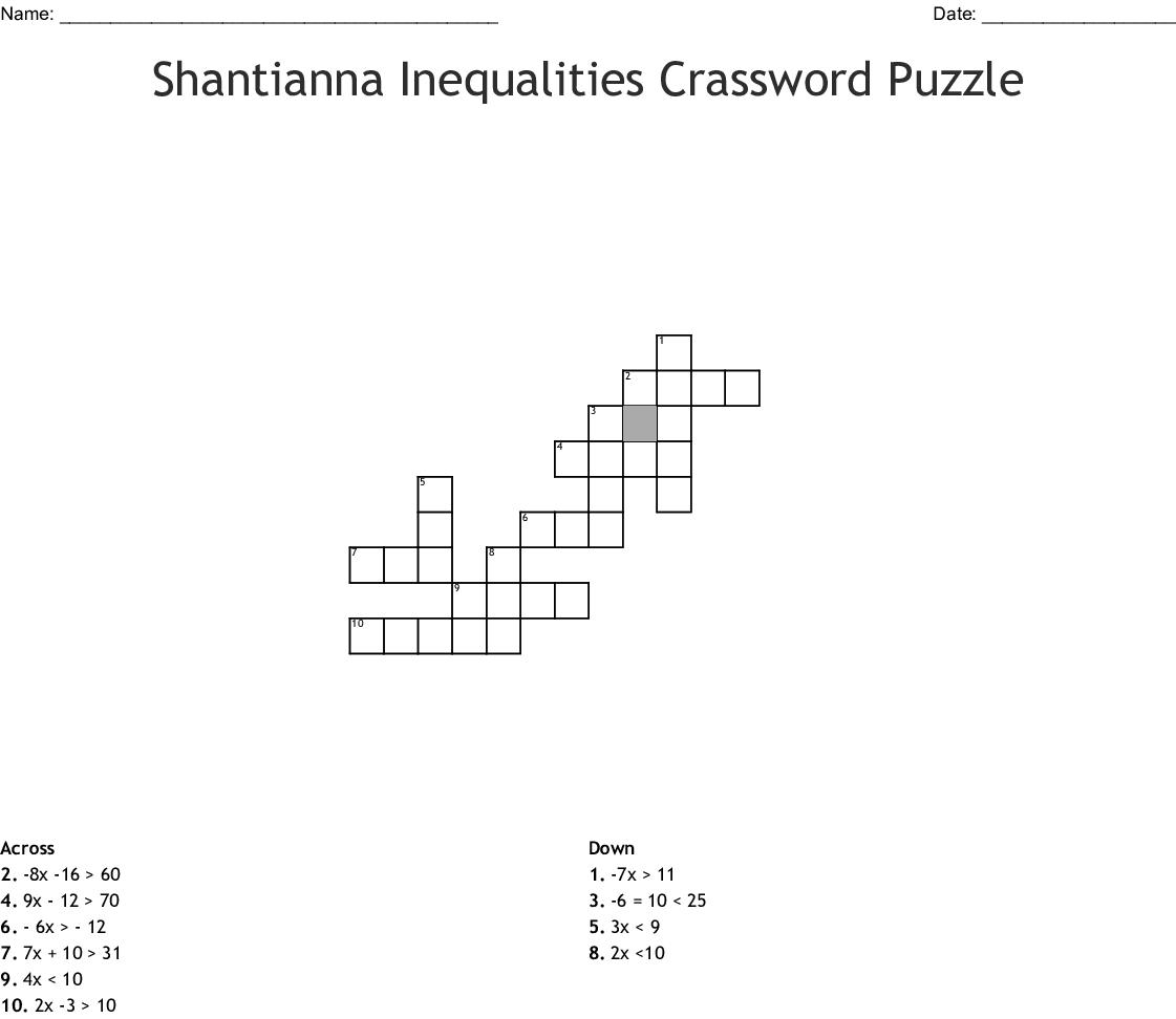 Similar To Solving Inequalities Crossword