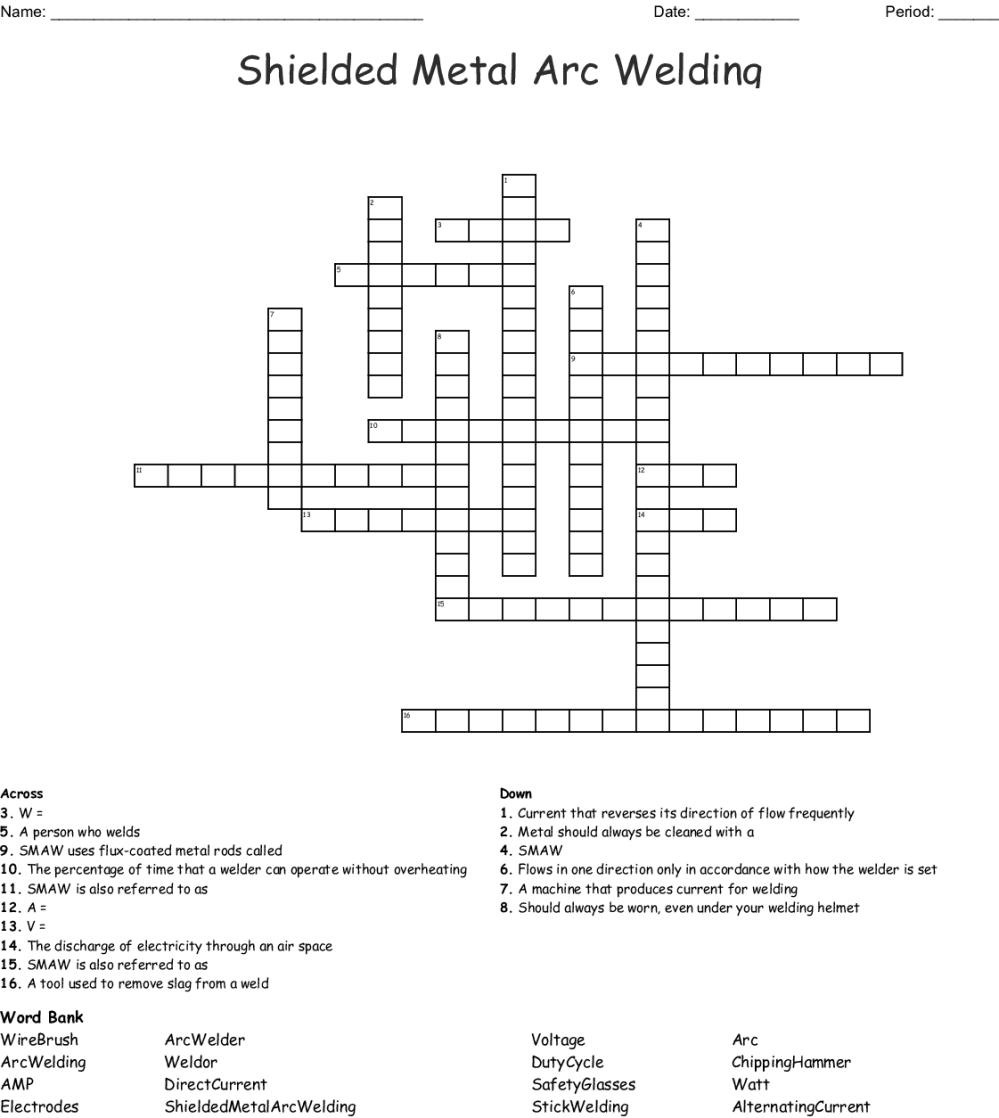 medium resolution of shielded metal arc welding crossword