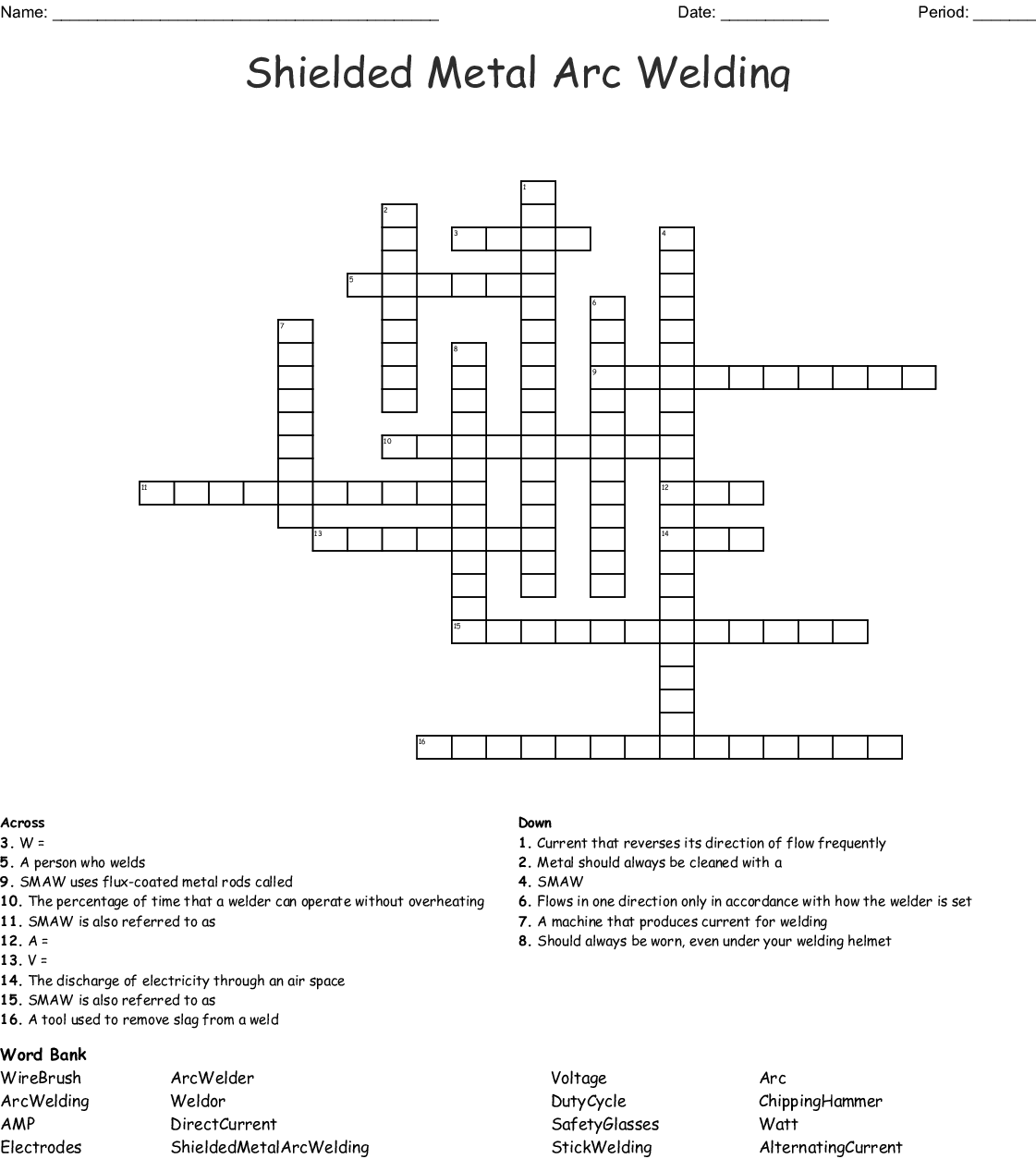 hight resolution of shielded metal arc welding crossword
