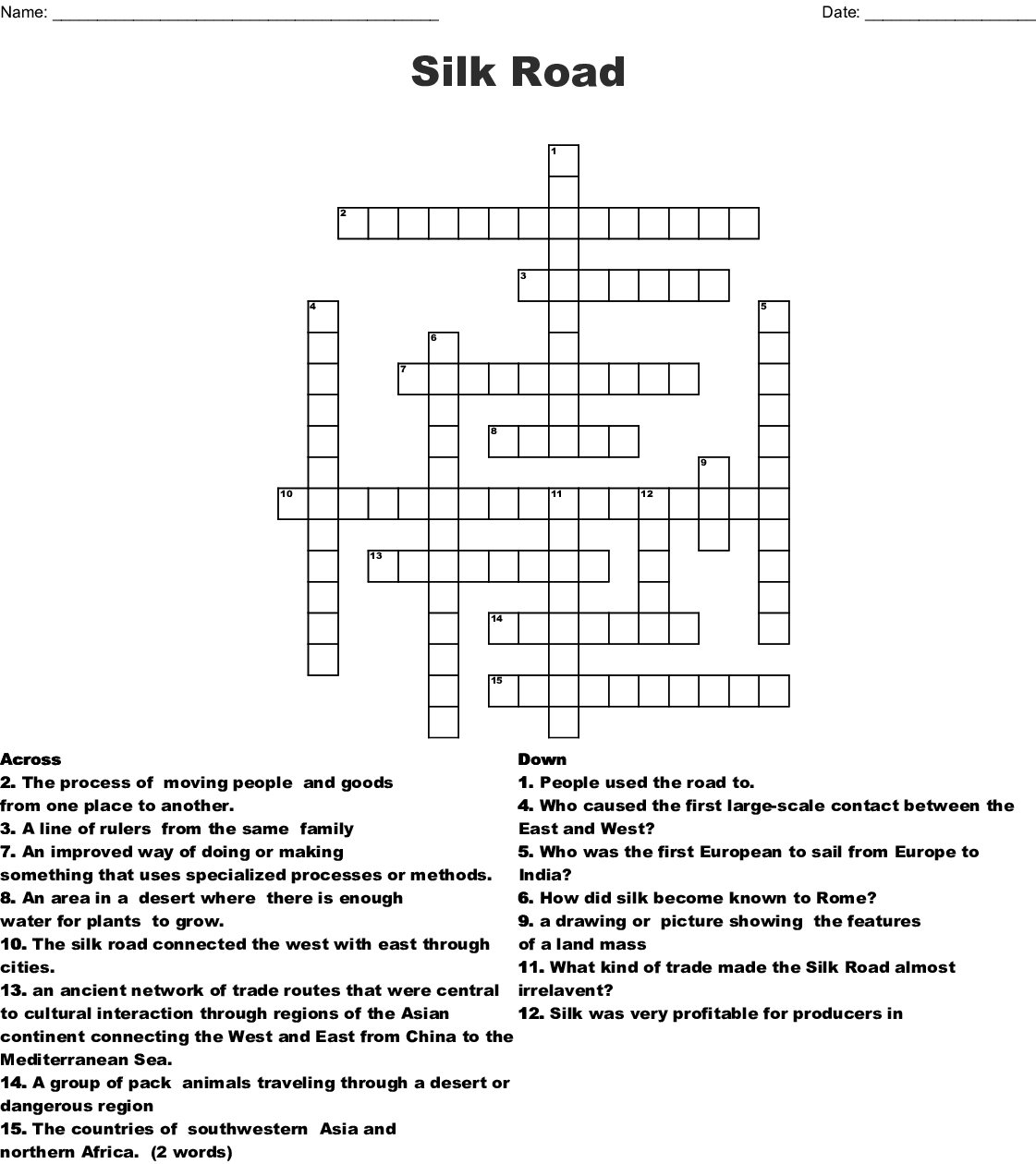The Silk Road Crossword