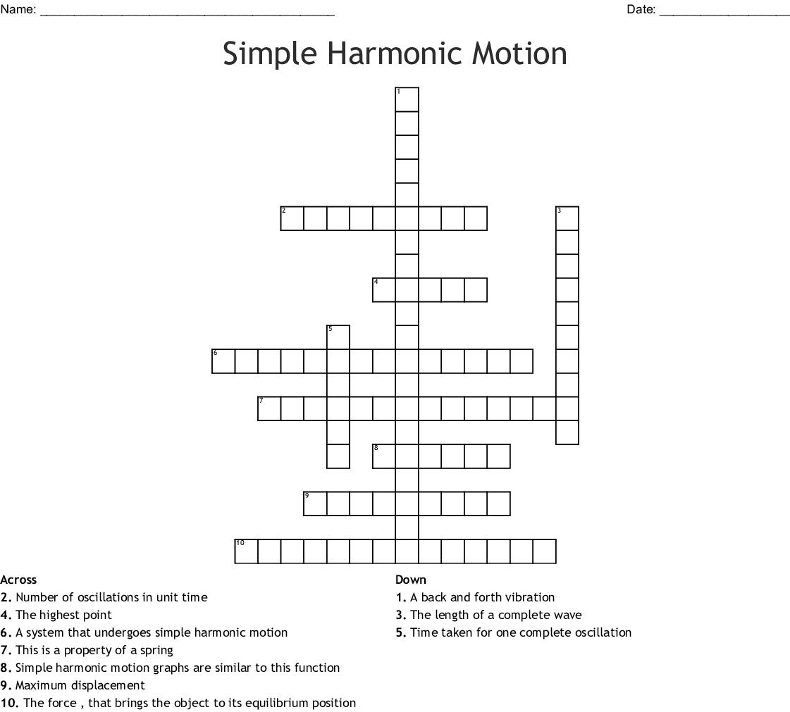 Simple Harmonic Motion Worksheet Answers