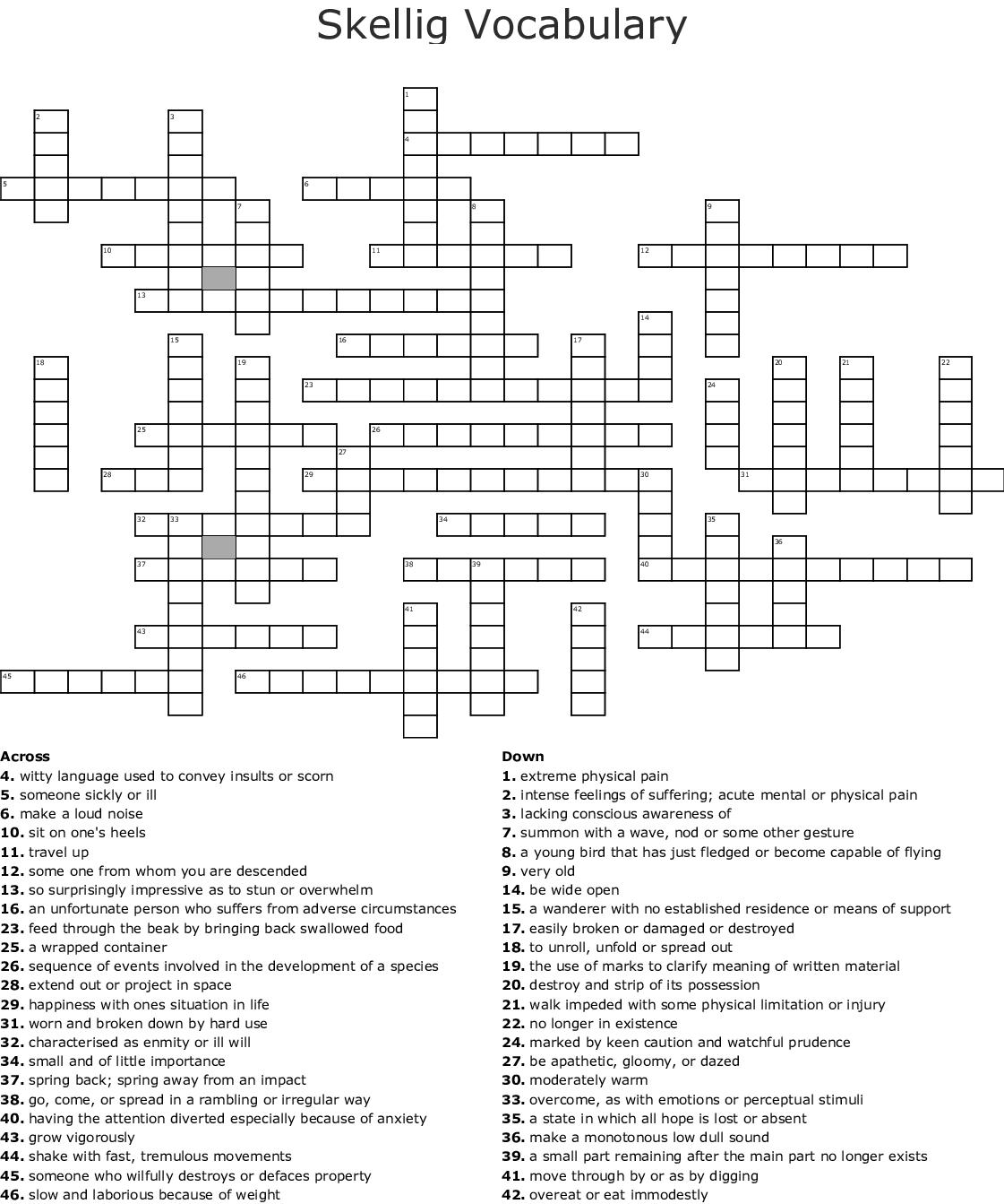 Skellig Vocabulary Crossword