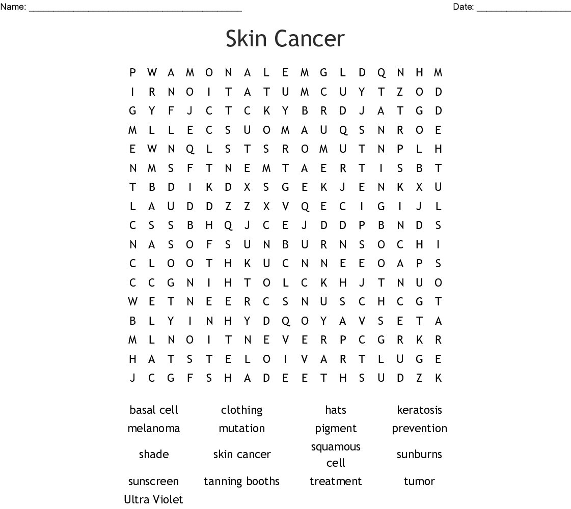 Skin Cancer Word Search