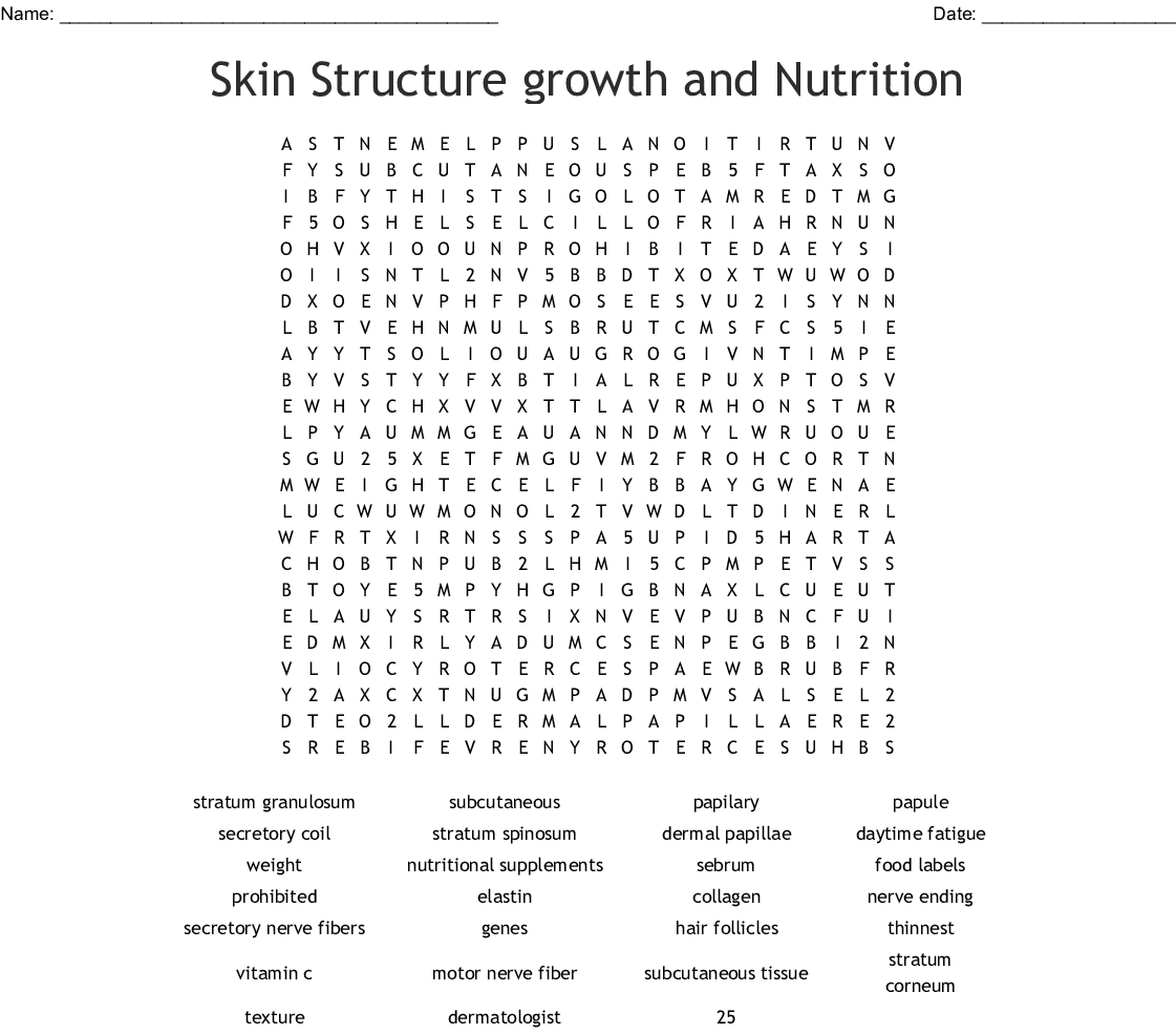 Skin Structure Growth And Nutrition Word Search