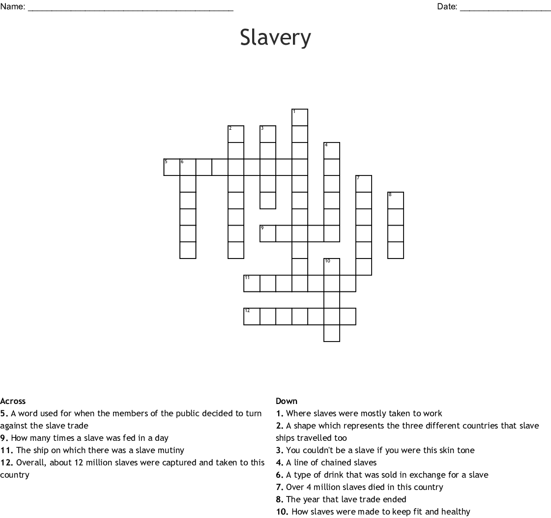 Abolition Of Slavery Movement Crossword