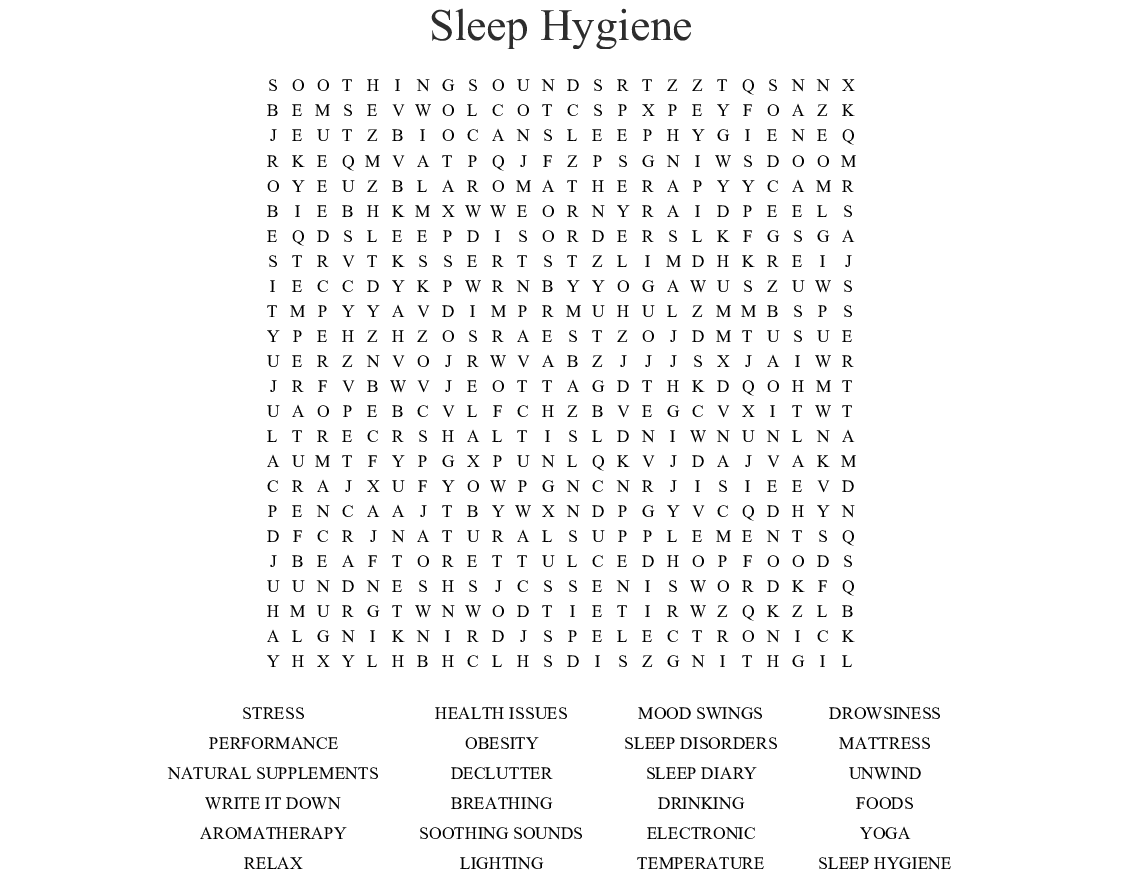 Sleep Hygiene Word Search