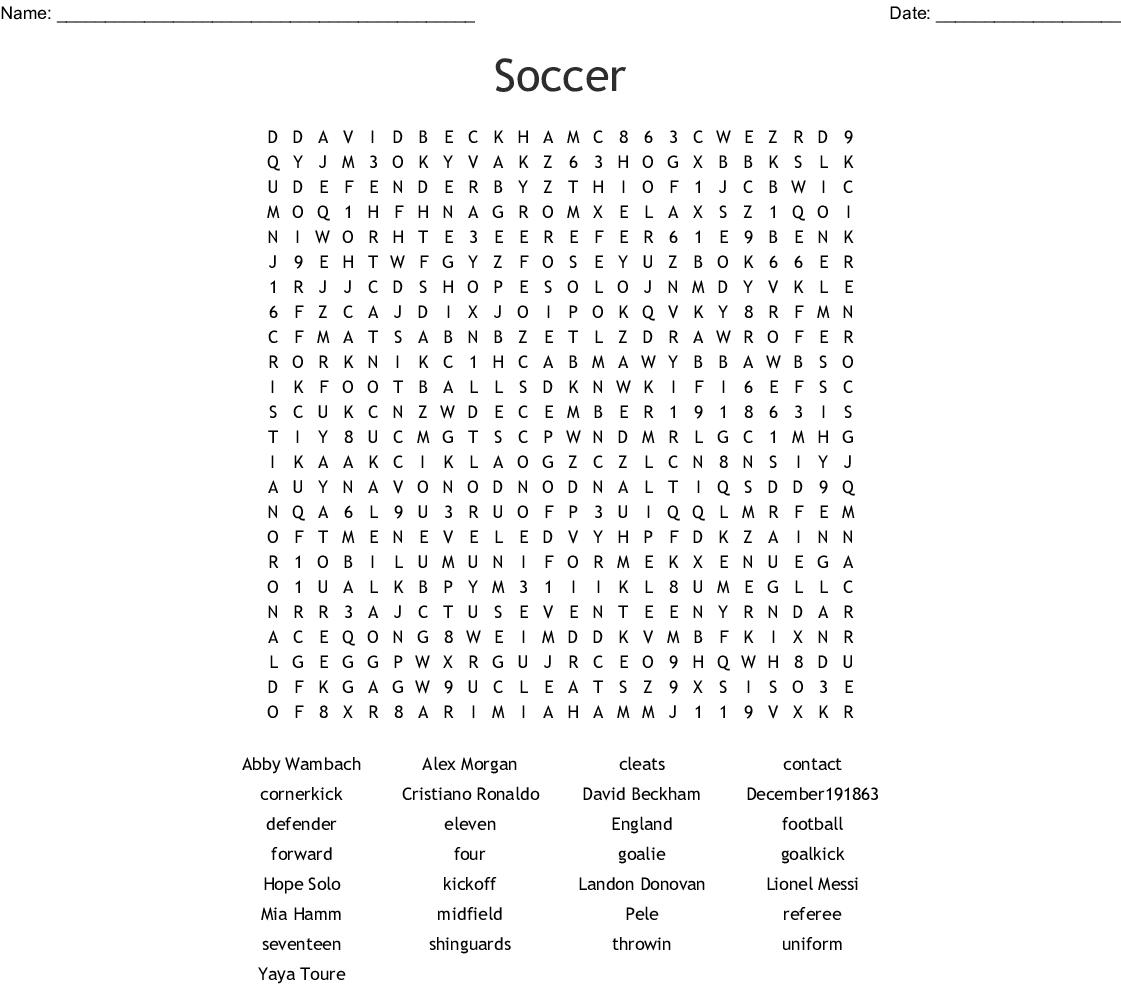 Soccer Players Word Search