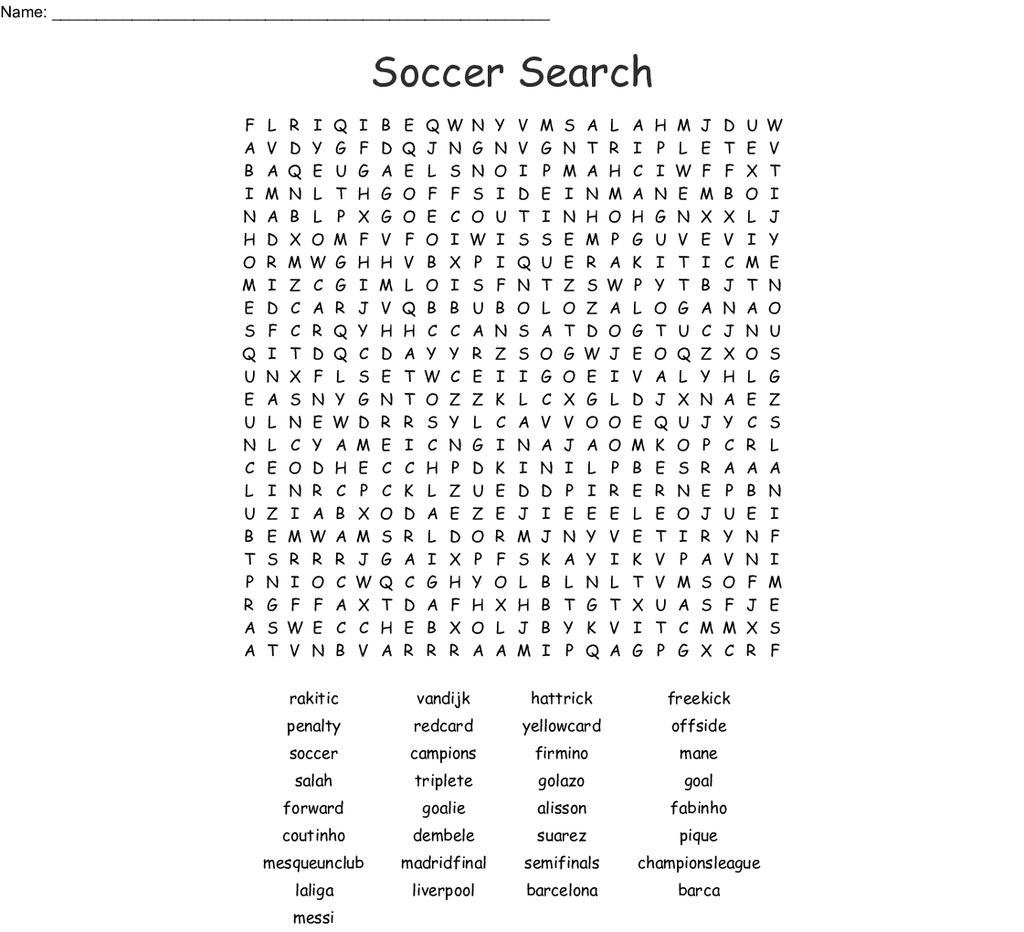 Soccer Crosswords Word Searches Bingo Cards