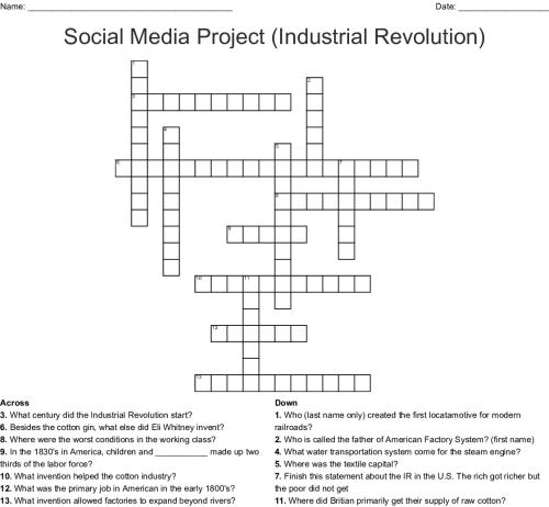 small resolution of social media project industrial revolution crossword