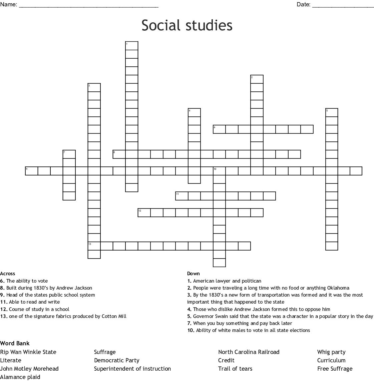 Social Stu S Crossword