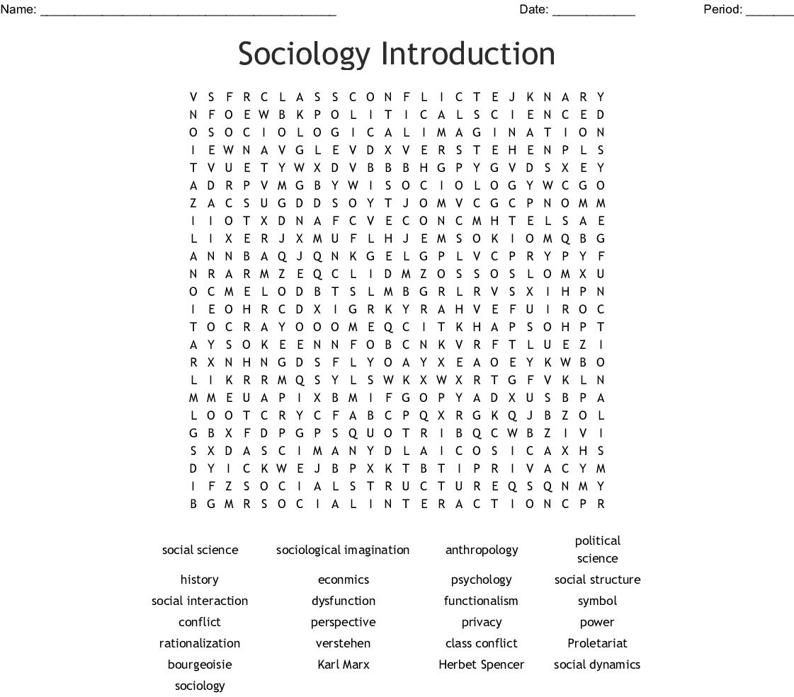 Sociology Crossword