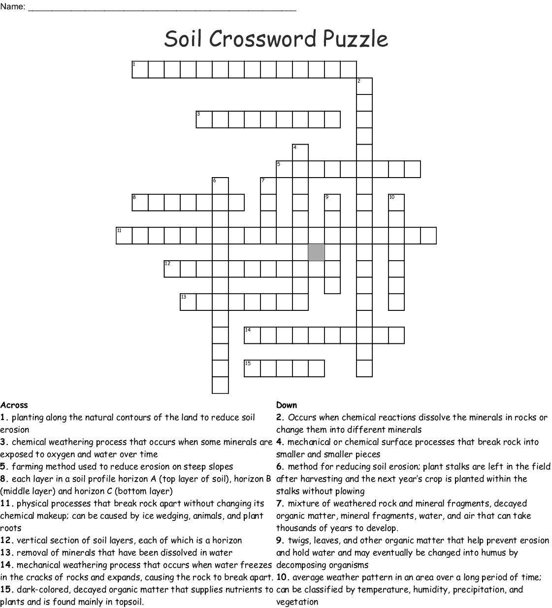 Soil Crossword Puzzle