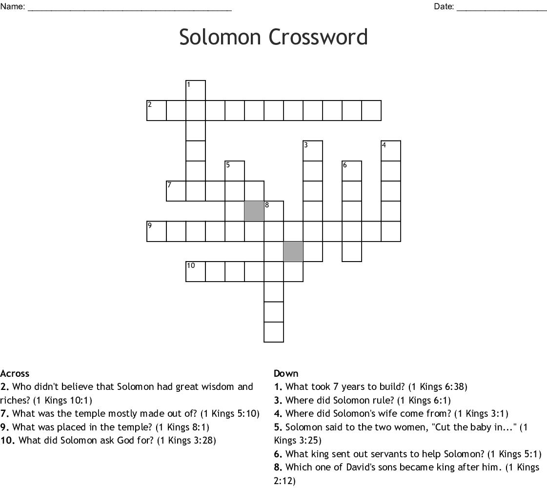 King Solomon Word Search