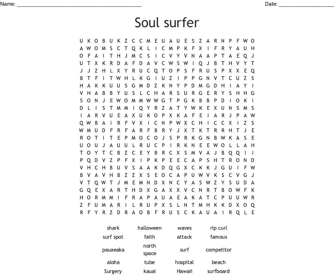 Soul Surfer Word Search