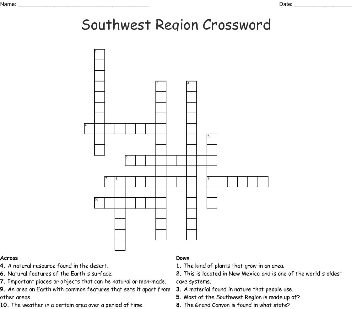 Southwest Region Crossword