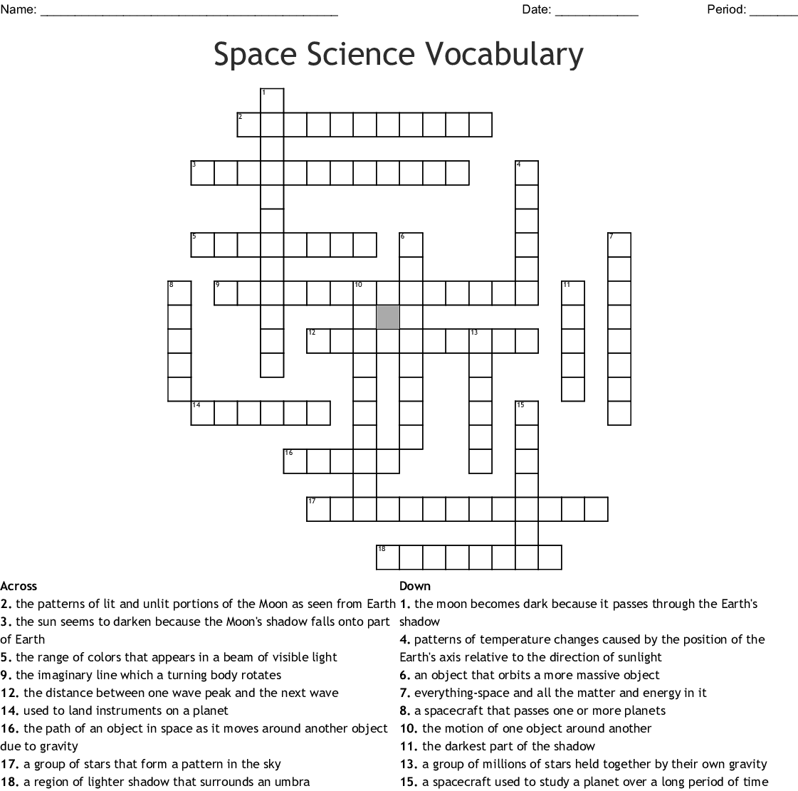 hight resolution of space science vocabulary crossword